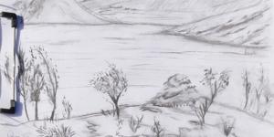 dessin paysage fusain lac du salagou, rouens, mont liausson
